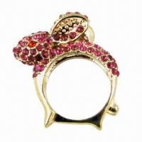 Wholesale Ring with shiny stones and zinc alloy from china suppliers