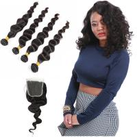 Wholesale Natural Color Black Indian Virgin Remy Hair Extensions 4 Bundles Loose Wave from china suppliers