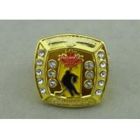 China Customized Metal Souvenir Ring Badge With Rhinestone By Die Casting on sale