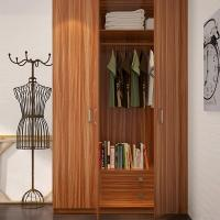 Wholesale Bedroom Three Door Wood Color Wardrobe With Shelves / Hinges / Clothes Hanger from china suppliers