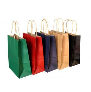 China Recycled Twist Handle Campany Logo Printing Brown Kraft Paper Bag on sale