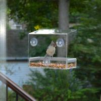 Wholesale Wholesale Large Window Bird Feeder - Free Detachable Tray Acrylic Plastic bird feeder with water drain holes from china suppliers