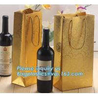 Wholesale Printed Luxury Wide Base Brown Kraft Paper Carrier Bag,coating black luxury paper carrier bag for printing with ribbon from china suppliers