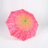 Wholesale Custom Manual Open Umbrella , Pink Flower Print 3 Fold Umbrella For Women from china suppliers