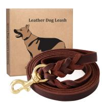 China 6 FT Handmade Dog Leather Leashes , Braided Leather Dog Leash Military Grade on sale