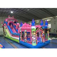 Wholesale Pink Dora Cartoon Commercial Inflatable Slide With Bouncy Castle / Bouncy Slide from china suppliers