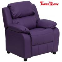 China Comfortable Childrens Recliner Chair , Purple Vinyl Toddler Recliner Chair With Storage Arms on sale