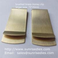 Wholesale Satin brushed brass Money Clip with good tension, large sized brass money clip wallets from china suppliers