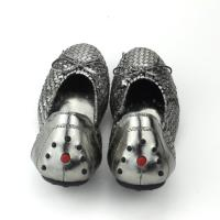 Casual Flat Shoes Bow-Knot Round Toe Slip silver Color Loafer Shoes Spring