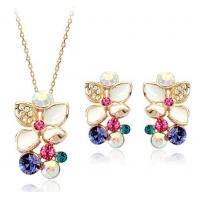 Wholesale Stylish Gold Fashion Girl Custom Multi Color Zircon Decorative Jewelry Sets from china suppliers