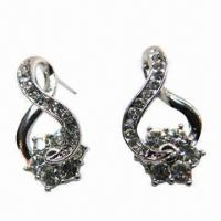 Wholesale Rhinestone Drop Earrings, Flower through Design, Suitable for Parties/Anniversaries/Weddings from china suppliers
