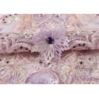 China Wedding Beige Purple Pink Colorful Mesh Lace Fabric Ostrich Feather Sequin 3d on sale