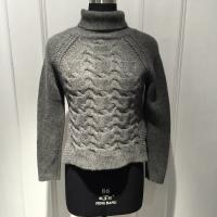 Quality Anti Shrink Turtleneck Cable Knit Sweater / Grey Turtleneck Sweaters For Fall for sale