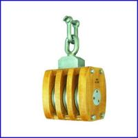 China B142 JIS Ship's Wooden Block Triple Sheave Pulley With Shackle for marine for sale