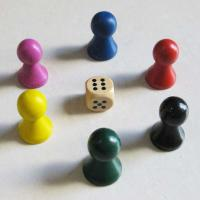 Wholesale wood little man colored 6pcs wood game pices with dice from china suppliers