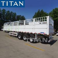 China TITAN 50 tons 3 axles fence cargo livestock transport semi trailer for sale on sale