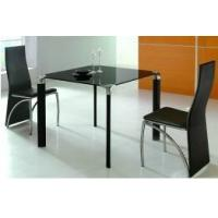 China New Modern bent coated iron legs 12mm tempered glass topped dining tables on sale