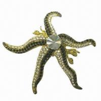 Wholesale Octopus metal brooch with shining diamonds from china suppliers