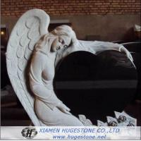 Black Granite Tombstone with Delicate Lace, Elegant Goddess Lying on  for sale