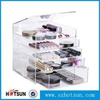 Wholesale Diamond Handle Clear Acrylic Makeup Organizer, Acrylic Makeup Drawer Box, Flip Cover Acrylic Cosmetic Storage from china suppliers
