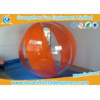 Orange Polyether TPU Inflatable Water Walking Ball , Big Inflatable Ball For Human