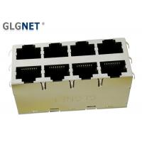 Wholesale Magnetic RJ45 Connector  2 x 4 RJ45 Jacks 1000 Base T Integrated Transformer with LED Lights from china suppliers