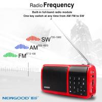 Wholesale NEWGOOD full band radio playing support mini U disk bass player speaker with flashlight from china suppliers