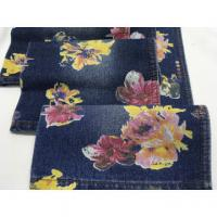 "Quality High quality wholesale 62/63"" flowers printed cotton polyester denim fabric for sale"