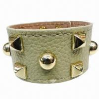 Wholesale Promotional PU Leather Punk Style/Studded Cuff Bracelet, High Polished Surface from china suppliers