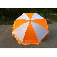 China Large Outdoor Sun Umbrellas Orange And White With Powder Coated Ribs on sale