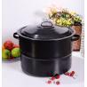 33QT Large Capacity Cast Iron Black Painted Kitchen Enamel Stock Pot Cookware Soup Pot for sale