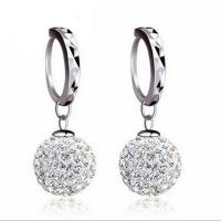 Wholesale 925 Silver Plated with Rhinestone Cubic Zircon Ball Beads Dangle Earrings (EEBALL03) from china suppliers