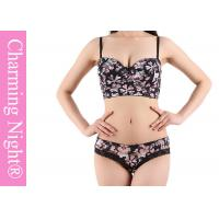 Wholesale Ladies Underwear Set With Sexy See - through Briefs Panties Printed Flower from china suppliers
