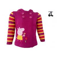 Wholesale Striped Girls Knit Sweater Long Sleeve , Hoodie Cardigan with Pepe Pig Pattern from china suppliers