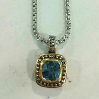 Wholesale (N-65) Fashion Jewelry Two tone Silver Plated Blue Cubic Zircon Pendant Necklace from china suppliers