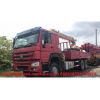 Wholesale HOWO 6x4 10 Ton Folding Boom Truck Mounted Crane Red Color,Material Is Carbon Steel from china suppliers