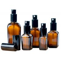 China Press Type Cosmetic Glass Bottles / Amber Cosmetic Jars Square Shape for sale