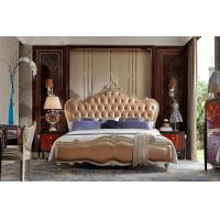 Buy cheap Luxury Bedroom furniture of Leather king size bed with Nightstand in Ebony wood from wholesalers