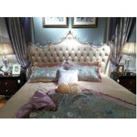 Wholesale Luxury Classic Bedroom Furniture Queen size Bed Flower Craft Wood and Leather Headboard in Sliver White painting from china suppliers