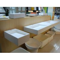 Buy cheap White Ivory round rectangle Trough Sinks, Restaurant Bathroom Sinks, Wash Basins from wholesalers