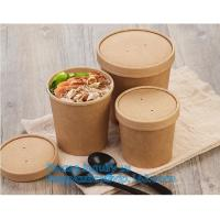 Wholesale paper soup cups with paper lids hot soup kraft paper cup,disposable kraft paper soup cup with paper lid,bagease package from china suppliers