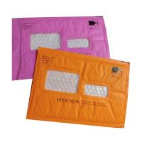 Quality Pink Kraft paper bubble mailers size #5 10.5x16 with window ideal for address for sale