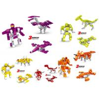 Wholesale Transformer Dinosaur Robot Plastic Interlocking Building Blocks 6 Styles Convertable from china suppliers