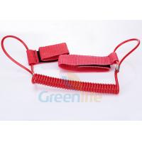 Wholesale 1.5M Long Quality Red Plastic Spring Coil Fishing Lanyard With Velcro Strap 2pcs from china suppliers
