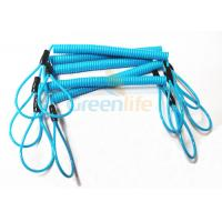 Wholesale Blue Coil Tool Lanyard Elasticated Spring Tool Tether With Double Loop Ends from china suppliers