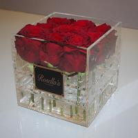 Quality best selling plexiglass display box with cover royal rose acryl clear flower for sale