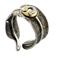 Wholesale Men Women Retro Unique Feather Shapes Gold Silver Two Tone Ring (R2018040210) from china suppliers