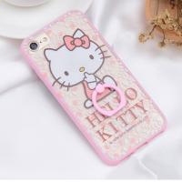 Hard PC + Silicone Side Cute Cat Ring Buckle Back Cover Cell Phone Case For iPhone 7 7 Plus 6 6s Plus for sale