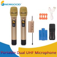 Wholesale 2 Pieces Pair Wireless Handheld KTV Singing Microphone for Voice Amplification Presentation UHF Transmitter and Receiver from china suppliers