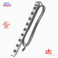 Wholesale Grounded 9 Outlet Metal Low Profile Plug Power Strip With Long Extension Cord from china suppliers